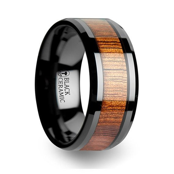 Koa Wood Inlaid Black Ceramic Tungsten Ring with by TRweddingrings