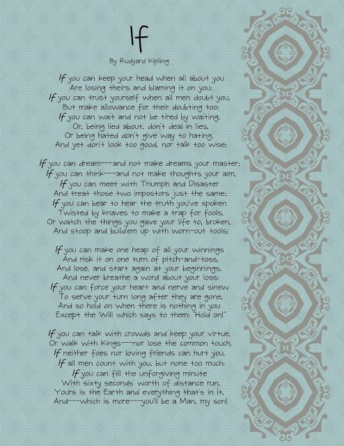 photo about If by Rudyard Kipling Printable named If\