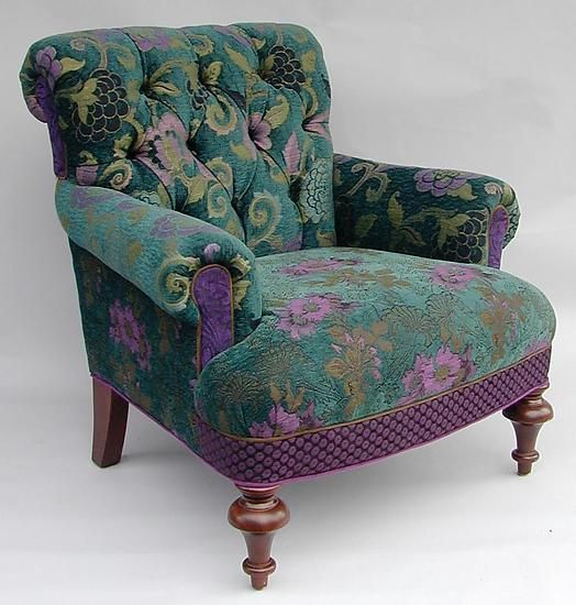 LOVE this chair! note to self...reupholster the wing-back in similar fashion.
