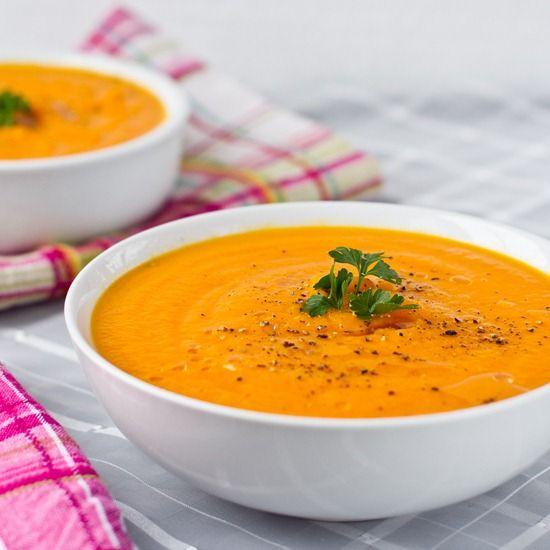Carrot Apple Ginger Soup *Olive oil *Onion *Garlic *Ginger *Apple *Carrots *Veggie broth *Nutmeg
