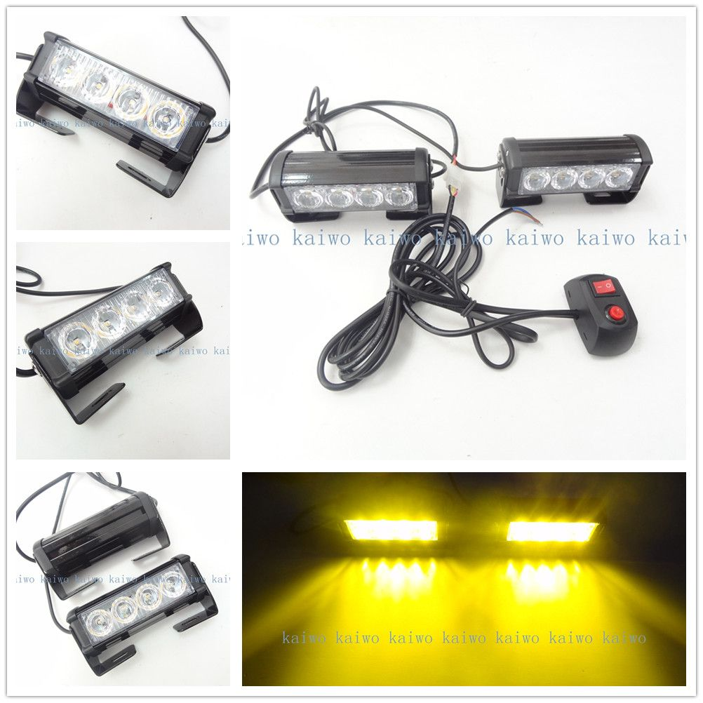 Strobe Lights For Cars Brilliant 09002 2*4 Led 8W Car Fog Light Emergency Vehicle Strobe Lights Car Inspiration