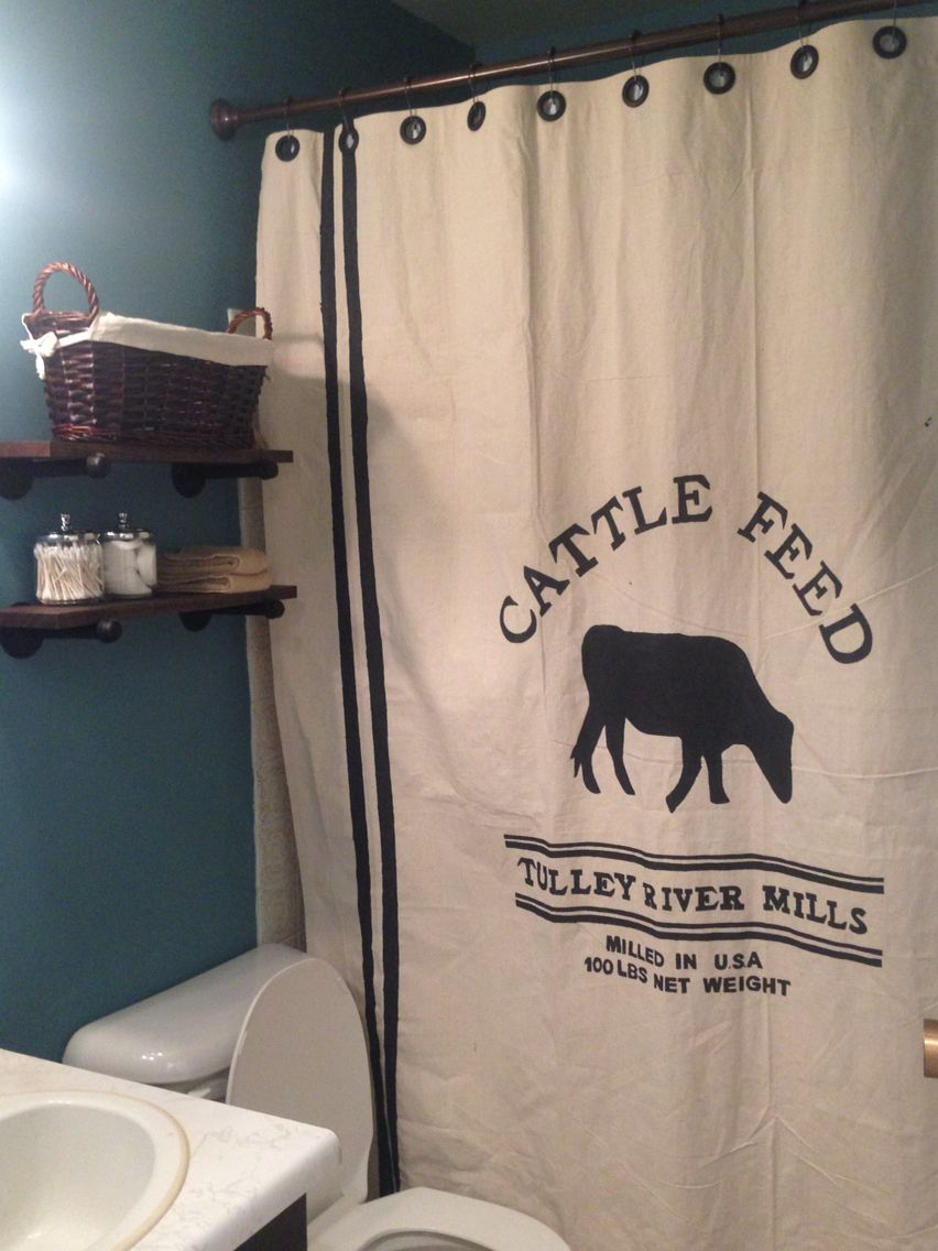 Diy Grain Sack Shower Curtain And Rustic Industrial Shelves Washroom Design Ideas Pinterest