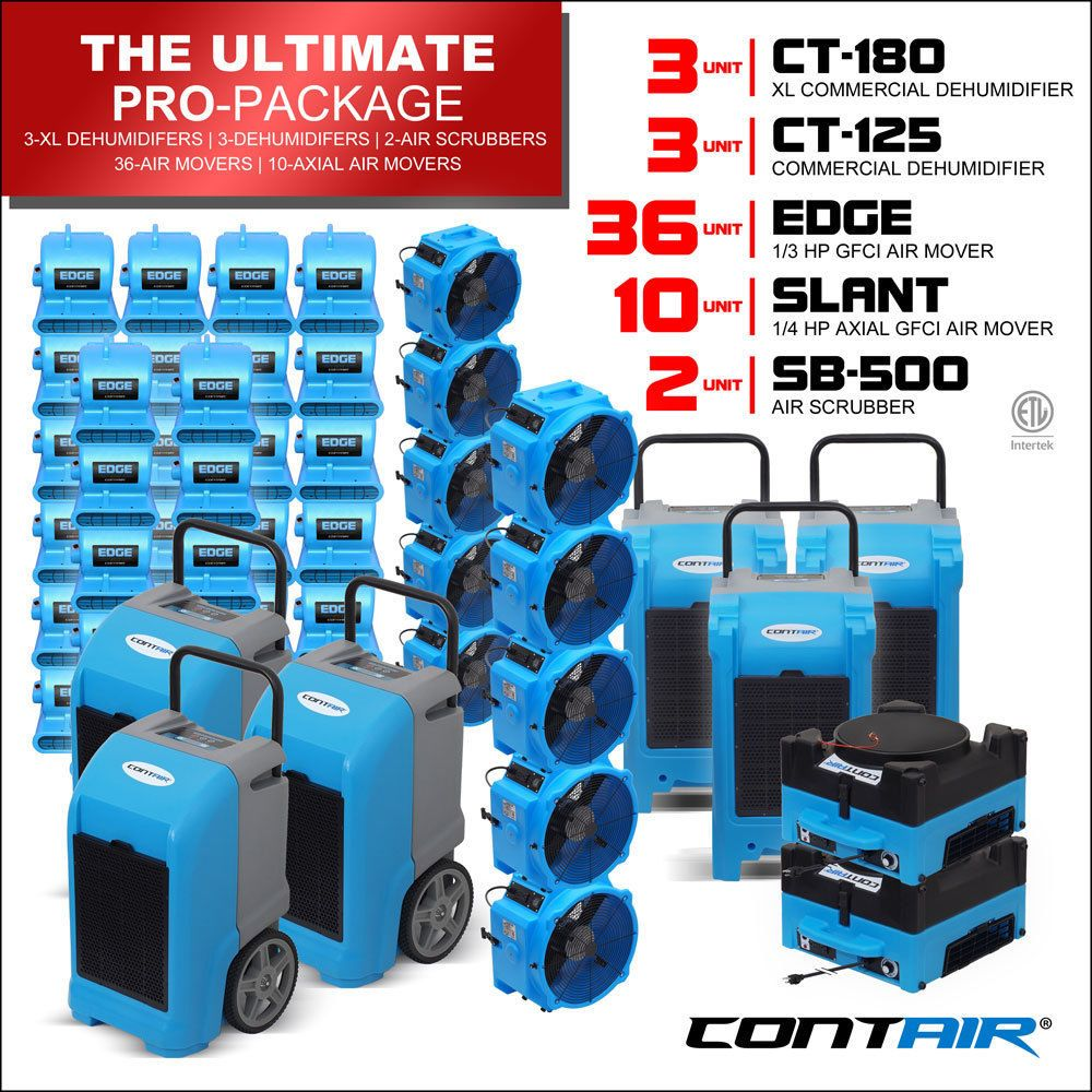 Water Damage Industrial Dehumidifiers and Air Movers and