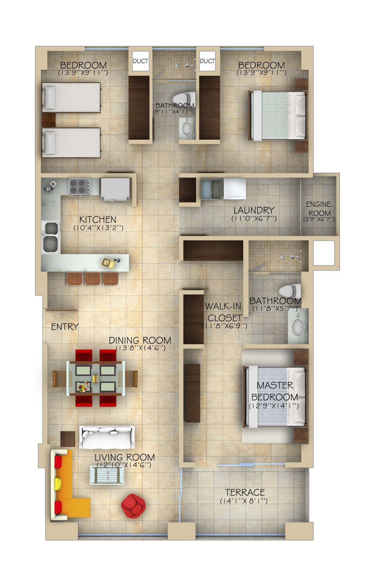 3 rec maras model horizon sky residences travel for Planos de casas de 3 recamaras