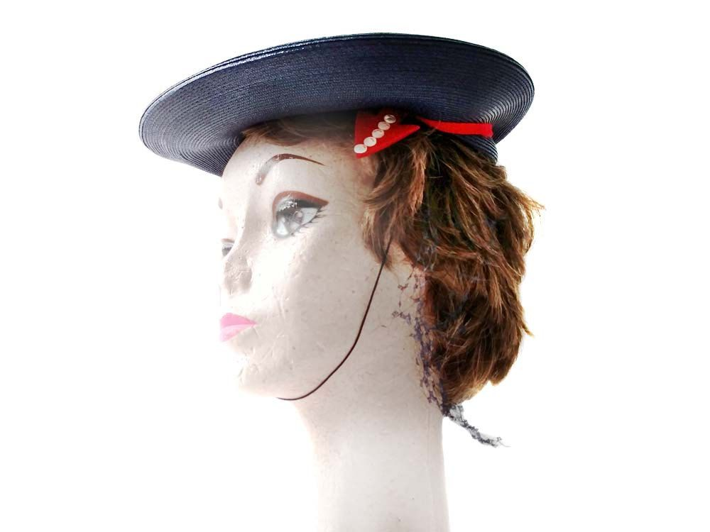 Ladies Sailor Hat Straw Navy Blue and Red Arrows Size 22 1950's Sailor Style Straw Beret Tilt Hat with Chin Strap by CollectionSelection on Etsy, SOLD