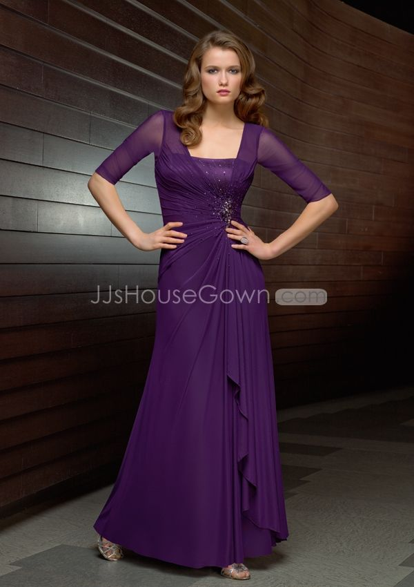 purple bridesmaid dress with sleeves - Google Search | Wedding ...