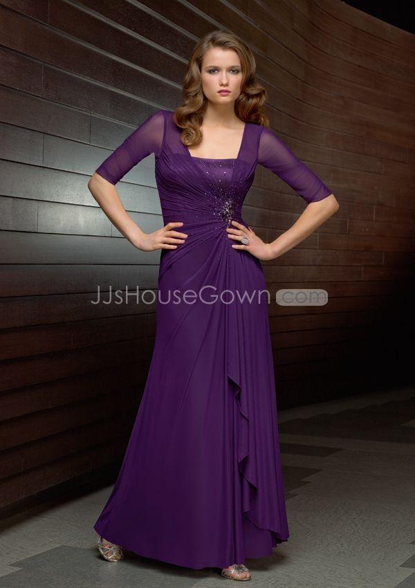 Purple Bridesmaid Dress With Sleeves