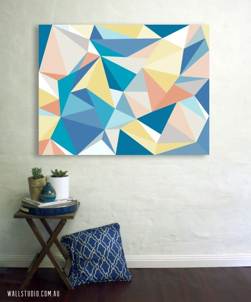Facet Love - blue geometric wall canvas art by Wallstudio
