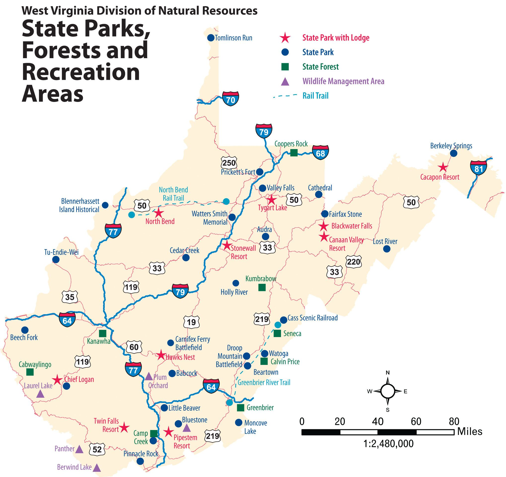 West Virginia -- state parks, forests, and recreation area ...
