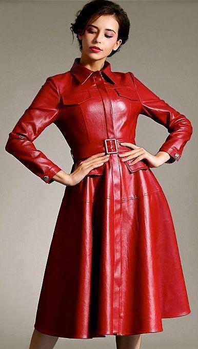 Leder Fashion | Leder, Kleid mit ärmel und Langärmelige ...