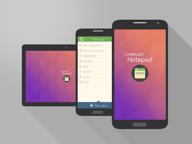 Codebuild's Notepad App for Android Mobile Interface on