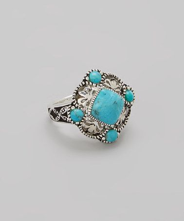 Another great find on #zulily! Turquoise & Silver Filigree Ring by Moda Designs #zulilyfinds