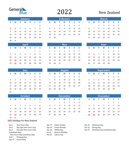 2022 Calendar - New Zealand with Holidays | Excel calendar ...