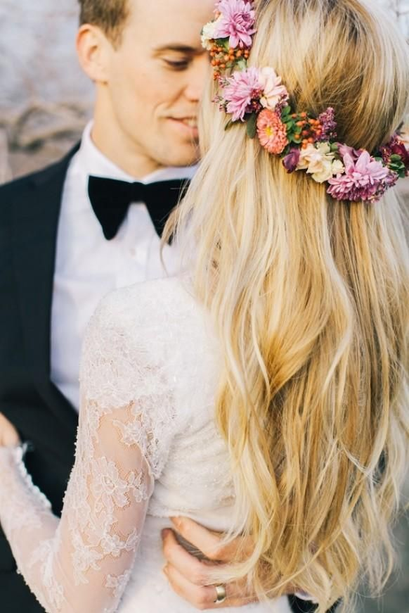 Beautiful-- flower crown and lace gown!::Vintage Wedding:: wedding photos:: vintage bride:: flower crown