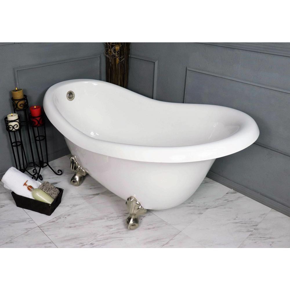 American Bath Factory 60 In Acrastone Acrylic Slipper Clawfoot