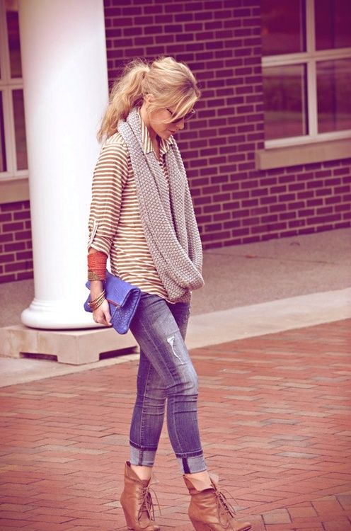 light colored skinny jeans w/ light brown striped shirt with an oversized grey scarf