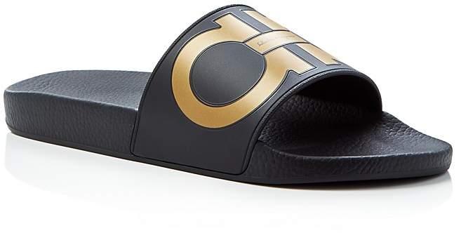 e7edaaffa319 Salvatore Ferragamo Men s Groove 2 Original Double Gancini Slide Sandals