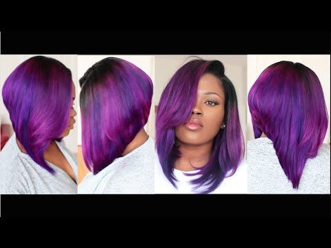 Fun Violet BobStart To Finish Tutorial On Coloring Cutting - Bob hairstyle 2015 youtube