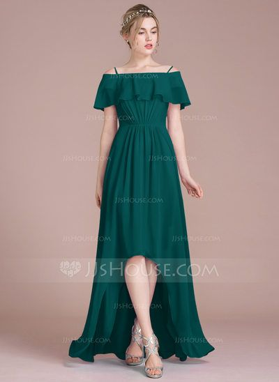 A Line Princess Off The Shoulder Asymmetrical Chiffon Bridesmaid Dress With Cascading