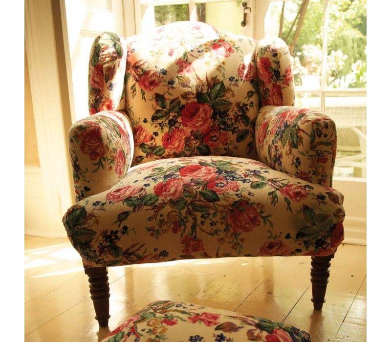 Attractive Floral Velvet Armchair Cream
