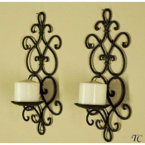 CUANDO LOS VEAN POR AHÍ.......AVÍSENME. Decorative Black Wrought Iron  Candle Wall Sconce Set
