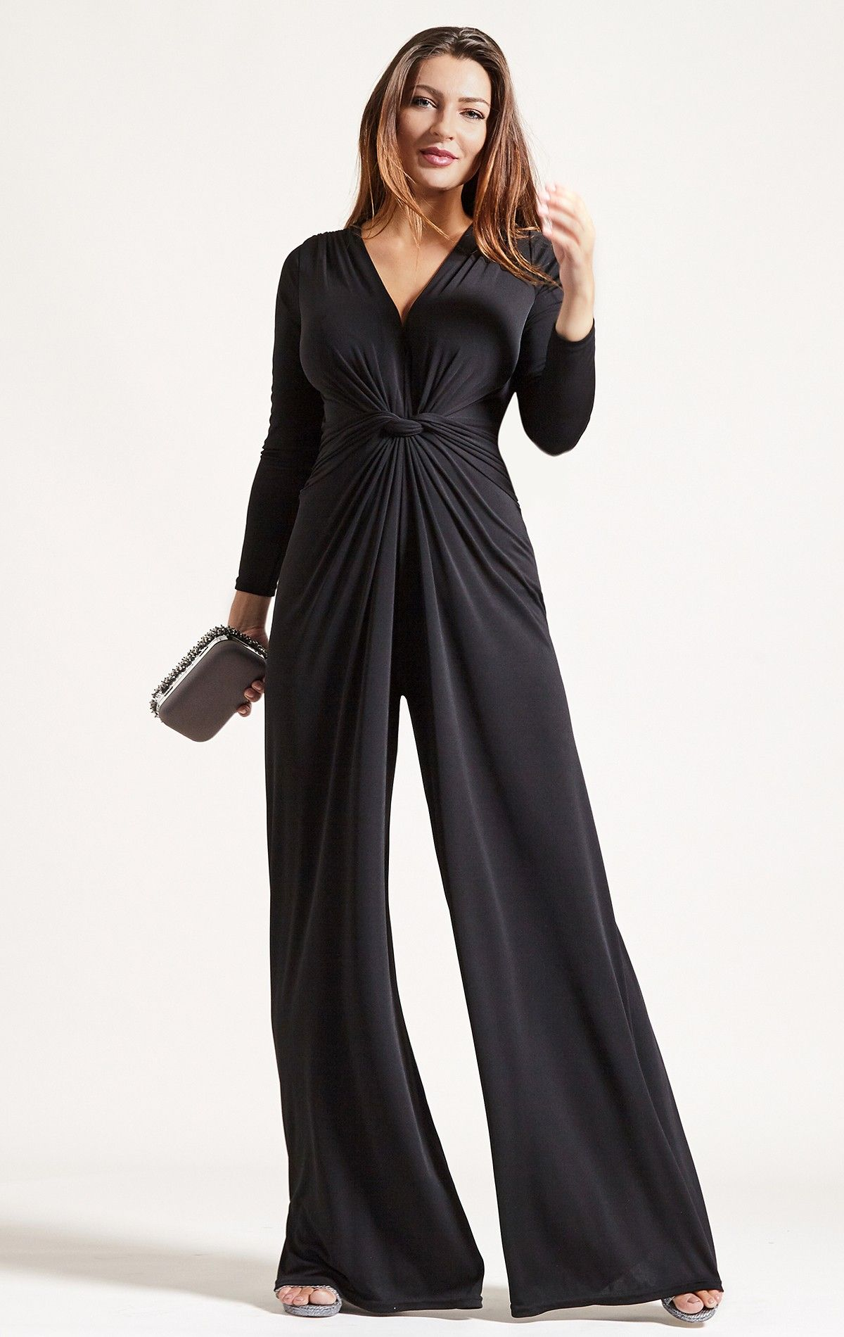 2d0cf83022a1 Palazzo Black Jumpsuit For Busty Women. Palazzo Jumpsuit in Black is your  go-to easy-to-wear cocktail party to dinner saviour. Bringing back some  playful ...
