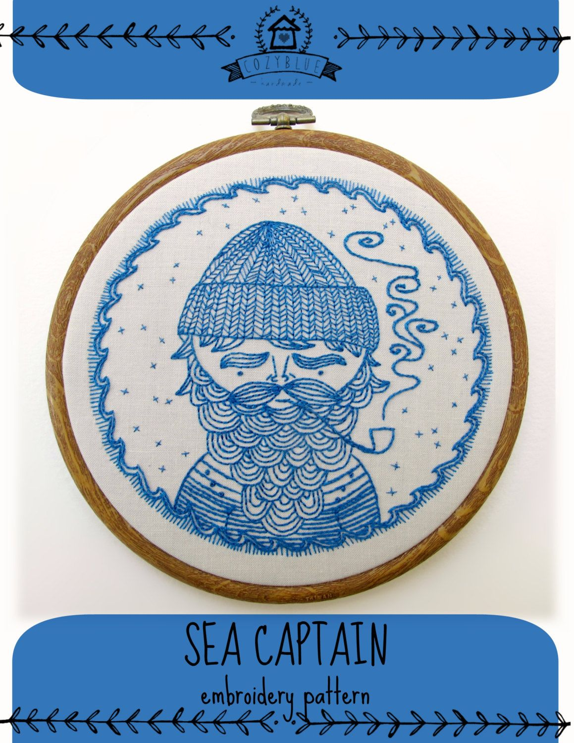 Sea captain pdf embroidery pattern sailor design embroidery sea captain pdf embroidery pattern sailor design embroidery design nautical theme salty sailor man beard man with pipe by cozyblue bankloansurffo Gallery
