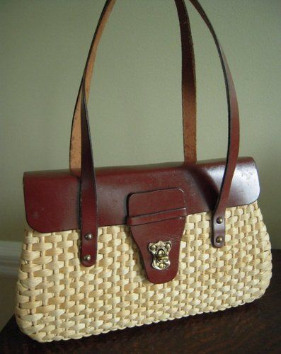 4e2a00913295 1960 s straw purse...my Mom s was taller! I still have it!
