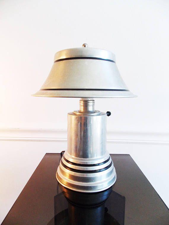 Art Deco Metal Lamp 1930s Machine Age Desk Table Lamp 30s Metal Lamp Metal Table Lamps Streamline Art