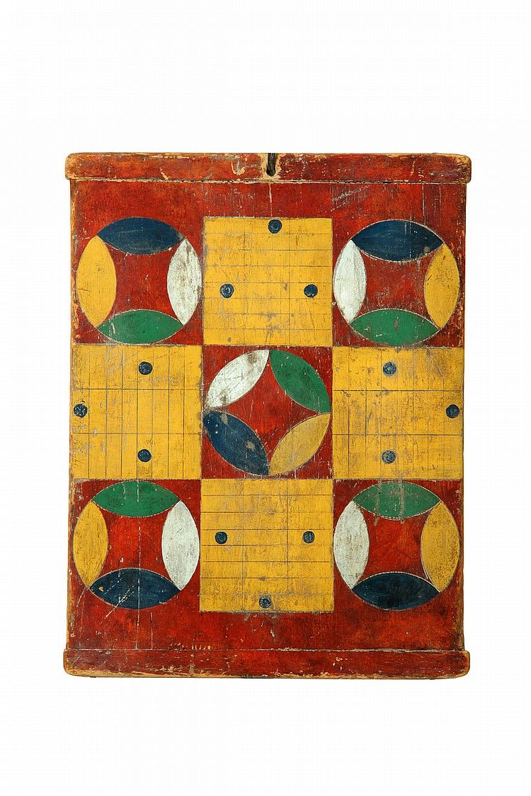 American, late 19th century, pine. Single board with breadboard ends. Original polychrome parcheesi game -- sold $5,000