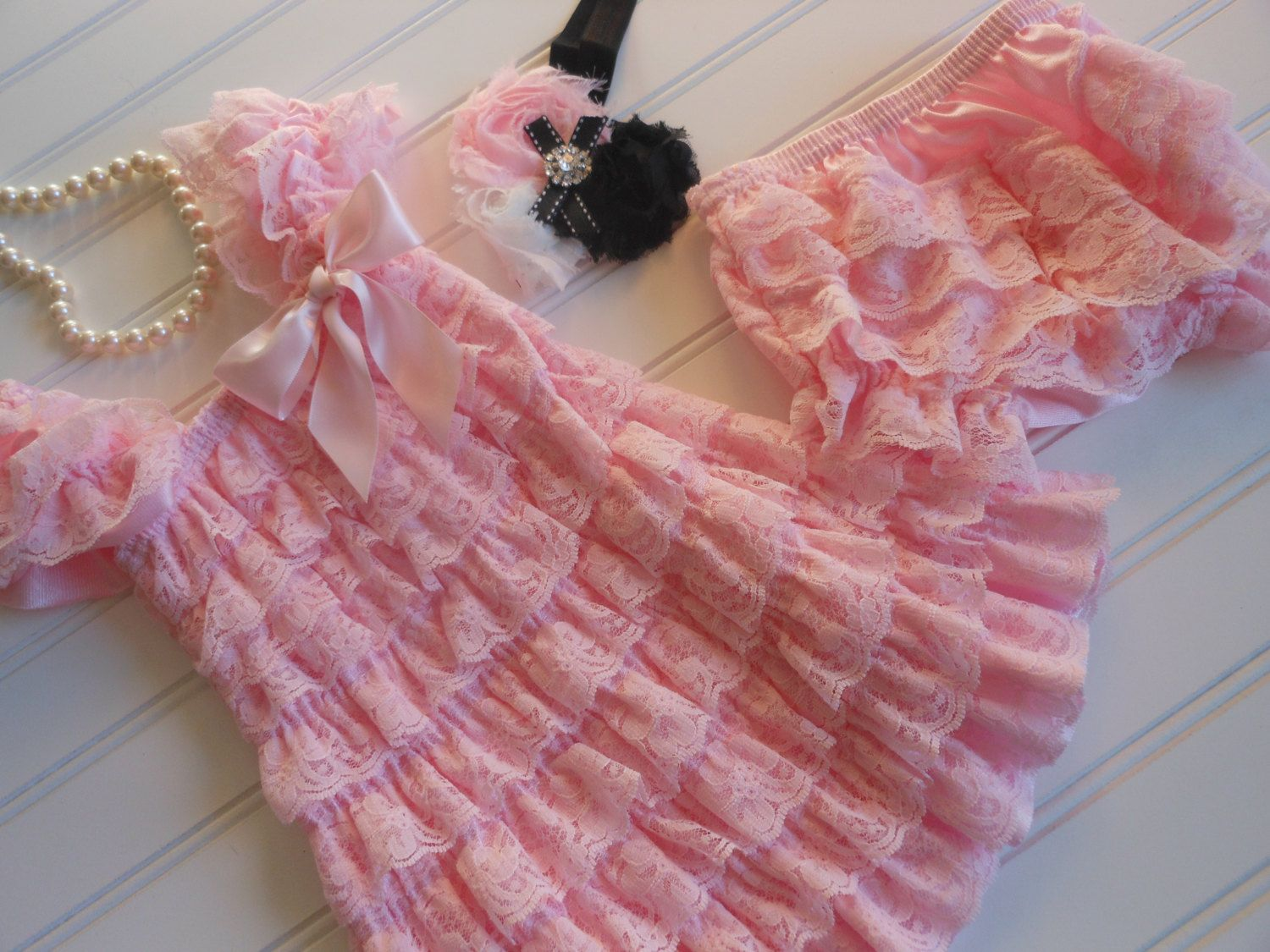 Baby Pink and White Lace Petti Dress with Matching Pink Lace Bloomers and Shabby Chic Hair Bow by ASweetCelebration on Etsy https://www.etsy.com/listing/173754456/baby-pink-and-white-lace-petti-dress