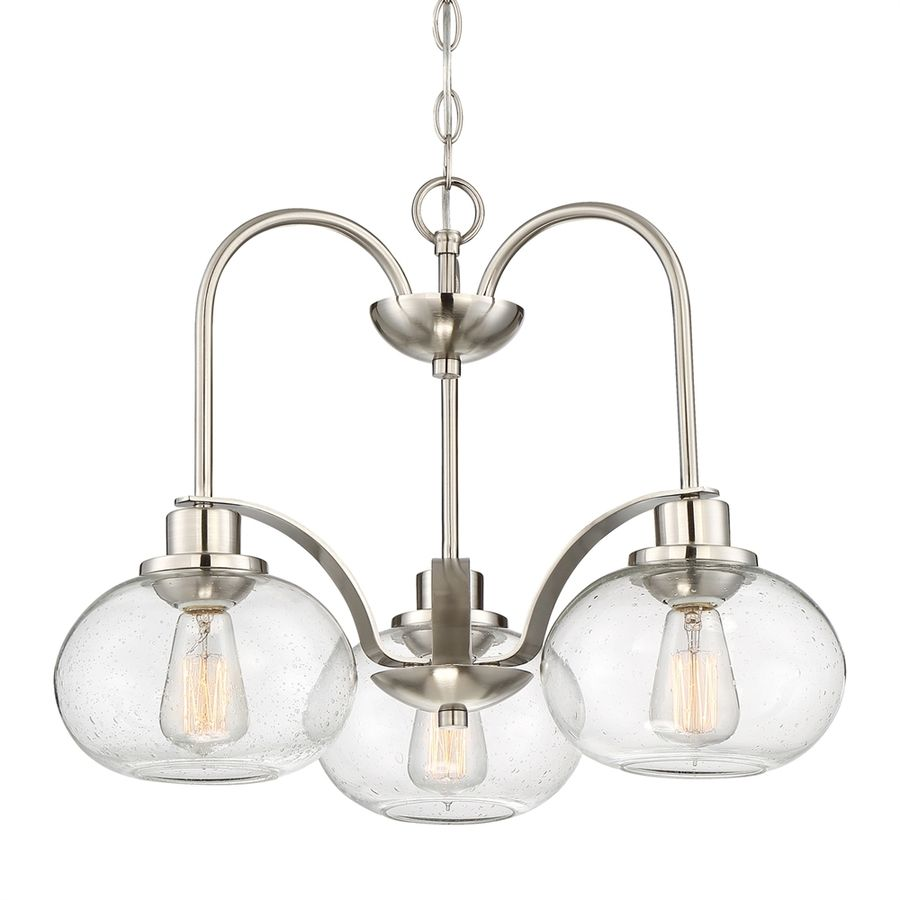 Quoizel Trilogy 16 5 In 3 Light Brushed Nickel Clear Glass Shaded Chandelier