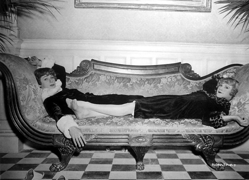 Tony Curtis and Jack Lemmon relax on the set of Some Like It Hot