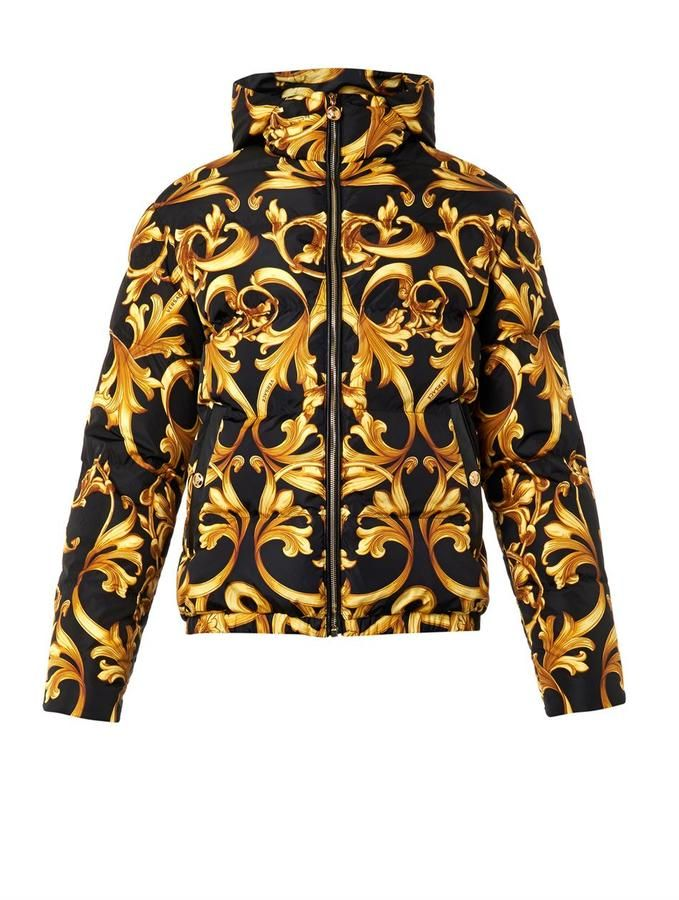 16ce4c5a07b Versace Barocco-print quilted down jacket   CLOTHING in 2019   Mens ...