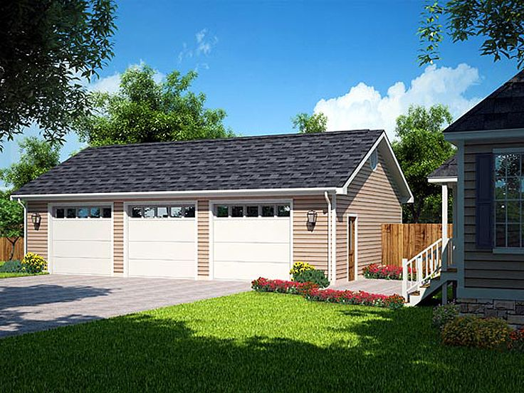 House with unattached shop under 3 car garage plans for Three car detached garage plans