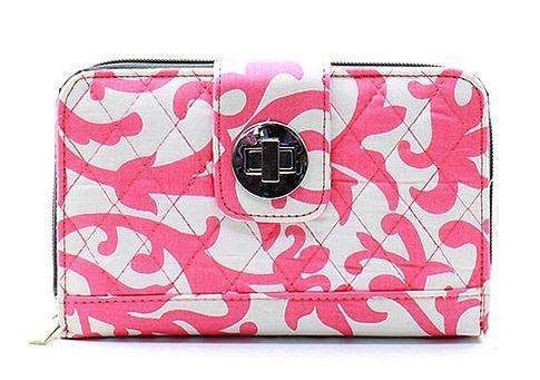 Damask Print Quilted Wallet Coral and White Gray Trim