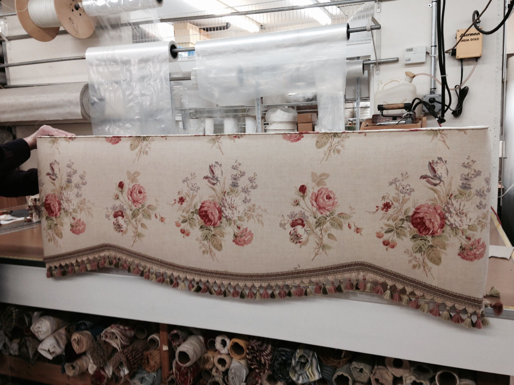 Upholstered Cornice In Colefax Fowler Floral With Robert Allen Fringe Trim