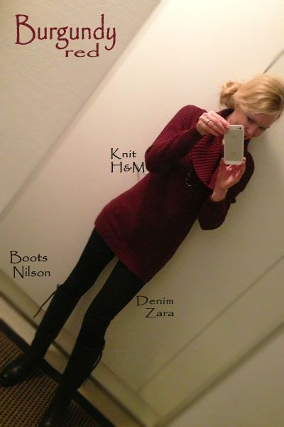 In my burgundy knit.