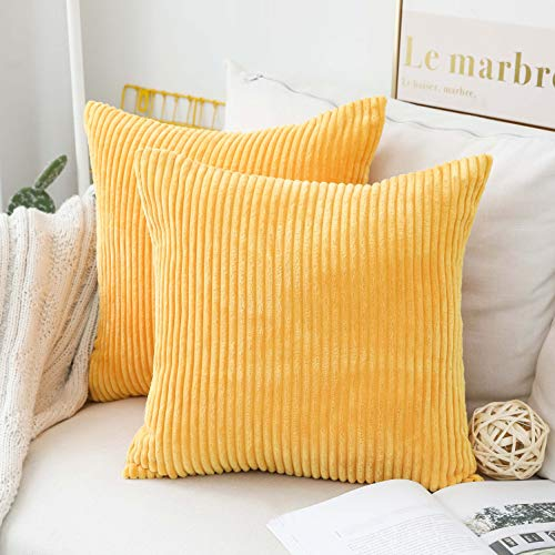 Home Brilliant Pillow Covers Super Soft Decorative Striped Corduroy Velvet Square Mustard Throw Pillows For Couch Sofa Shop For Trendy Online Trendy Shop Yellow Decorative Pillows Cushions On Sofa