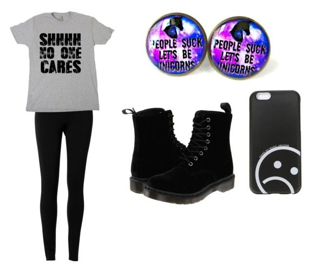 """""""Ugh people"""" by minionlove101 ❤ liked on Polyvore featuring Max Studio, Marc by Marc Jacobs and Dr. Martens"""