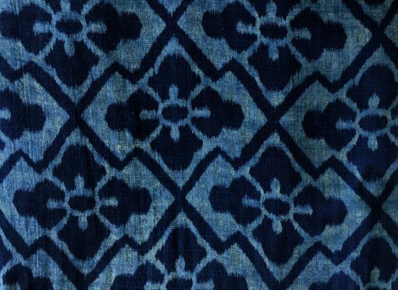 Hand Dyed Indigo Cotton Fabric By The Yard Thai Fabric Indigo Fabric Weavers Cloth Asian Fabric 1.5 Yard Floral Hand Block Print