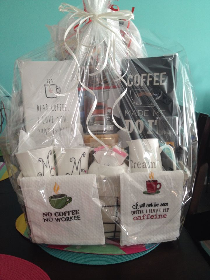 everything coffee lovers need coffee themed basket for bridal shower