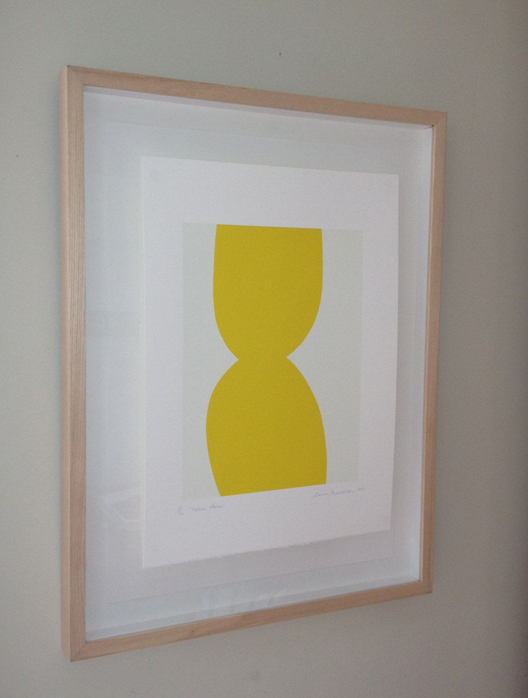 Original art - Yellow Form is a handmade abstract screenprint in two ...