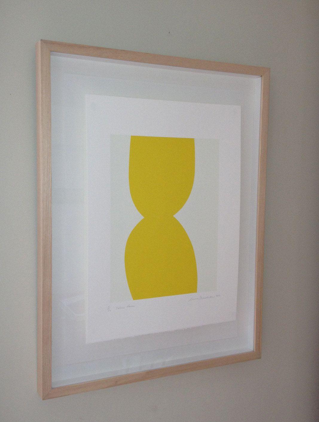 Yellow minimal screenprint - abstract yellow original art, simple ...