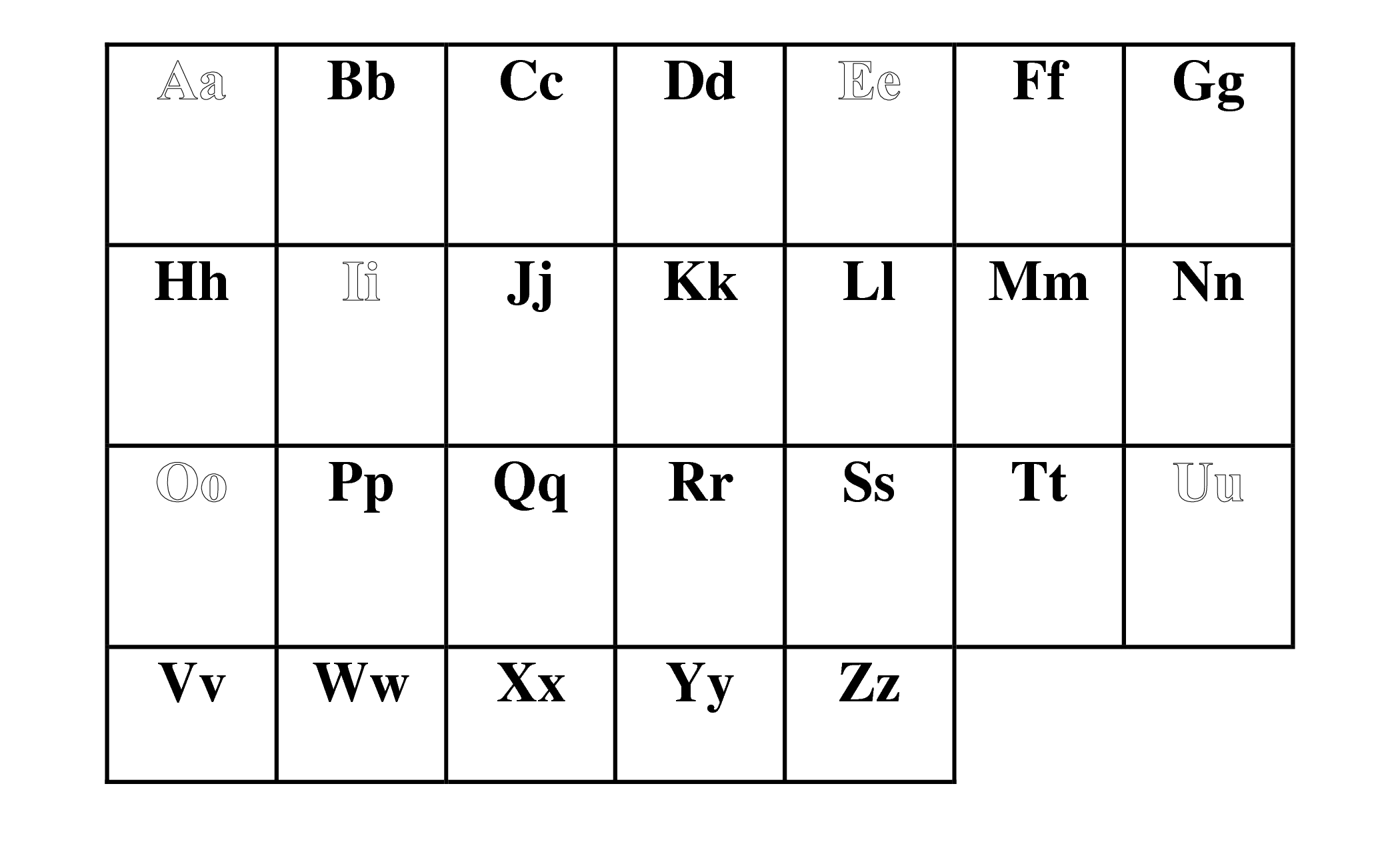 Blank Alphabet Chart Printable
