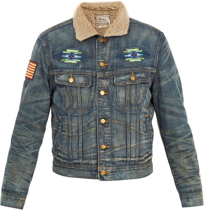69e923496955a4 POLO RALPH LAUREN Faux shearling-collar denim jacket   My Virtual ...