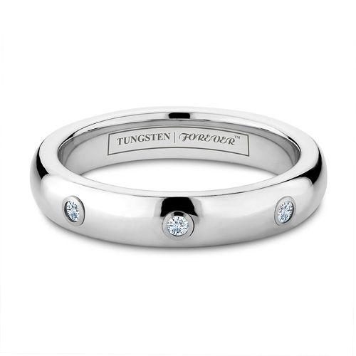 Bella 4mm 3 Diamond Womens Tungsten Wedding Rings Stone Inlay Tungstenworld