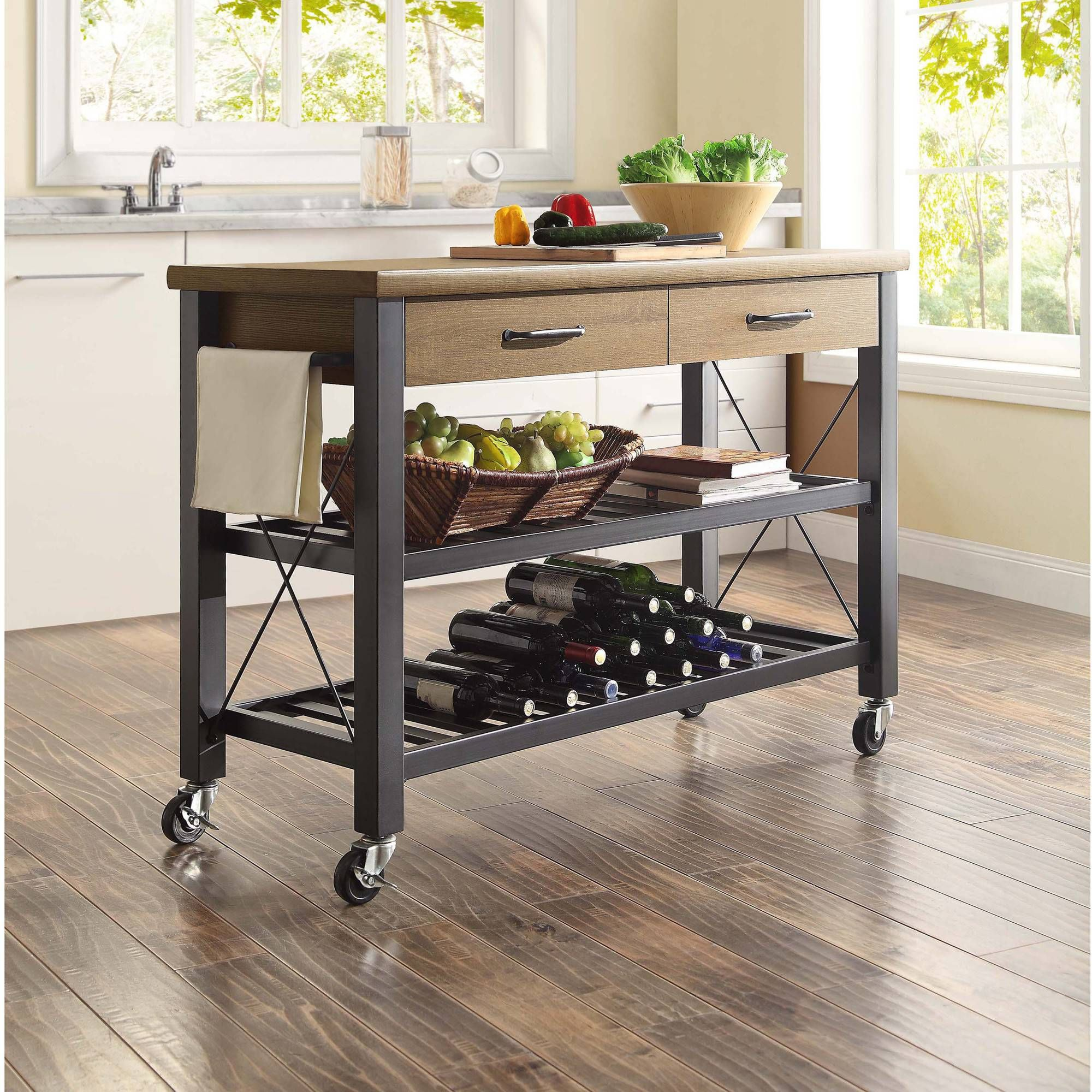 Whalen Santa Fe Rolling Kitchen Cart with Metal Shelves, Rustic ...
