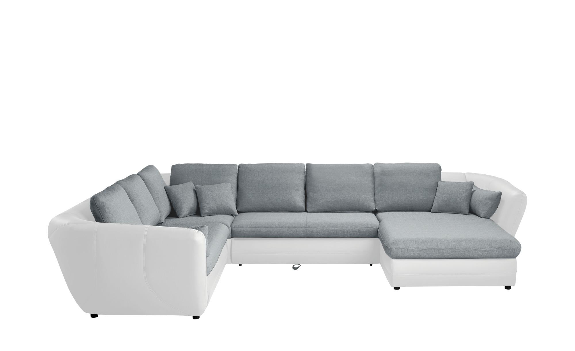 Smart Wohnlandschaft Weiss Grau Kunstleder Flachgewebe Verona Sectional Couch Home Decor Couch