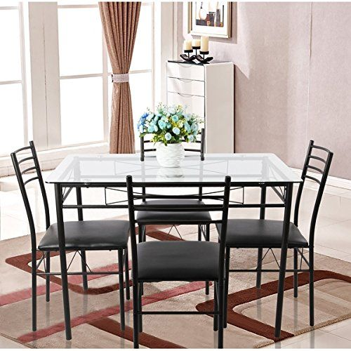 5-piece Glass Dining Table Set, Glass Table and 4 Chair Sets Metal